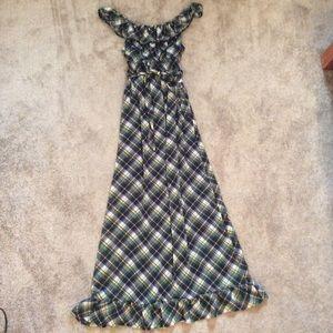 Mossimo Navy & Green Plaid Maxi Dress